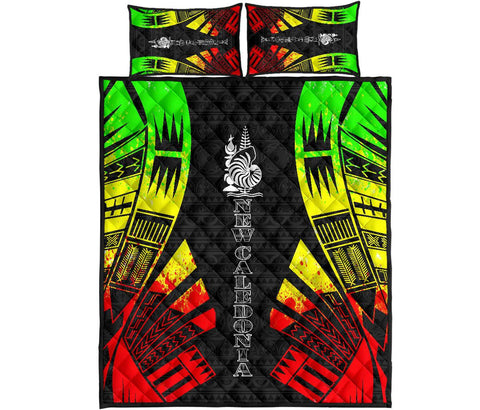 New Caledonia Polynesian Quilt Bed Set - Reggae Tattoo Style