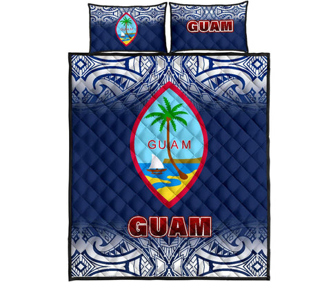 Image of Guam Quilt Bed Set - Fog Style