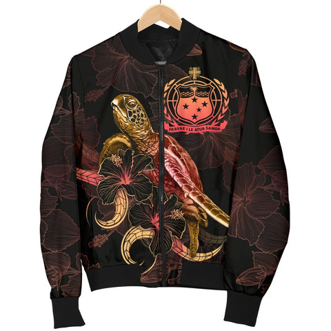 Image of Samoa Polynesian Women's Bomber Jacket - Turtle With Blooming Hibiscus Gold