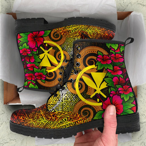 Hawaii Polynesian Leather Boots - Hibiscus Vintage