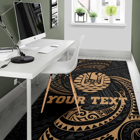 Tahiti Polynesian Custom Personalised Area Rug - Gold Tribal Wave - BN12