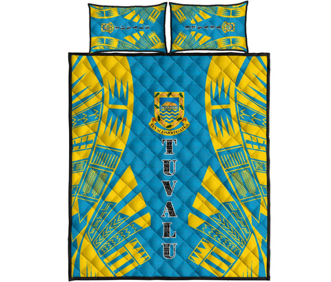 Tuvalu Quilt Bed Set - Blue Tattoo Style