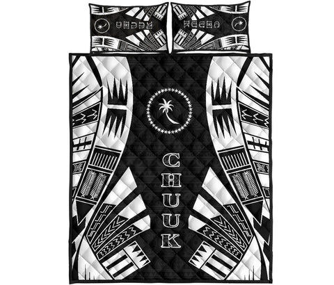 Chuuk Quilt Bed Set - Black Tattoo Style
