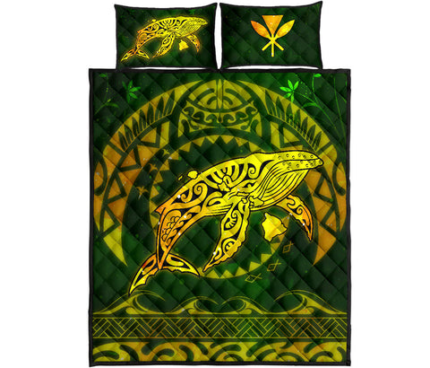Polynesian Hawaii Quilt Bed Set - Whale Hawaii Map Gold Galaxy