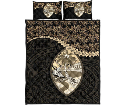 Image of Guam Polynesian Quilt Bed Set Golden Coconut