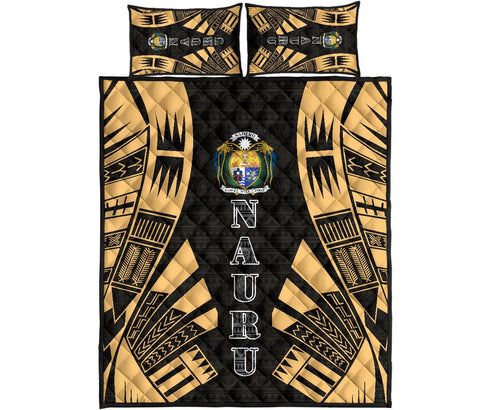 Nauru Polynesian Quilt Bed Set - Yellow Tattoo Style