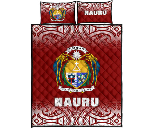 Nauru Polynesian Quilt Bed Set - Red Fog Style