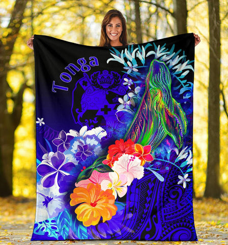 Tonga Premium Blanket - Humpback Whale with Tropical Flowers (Blue)