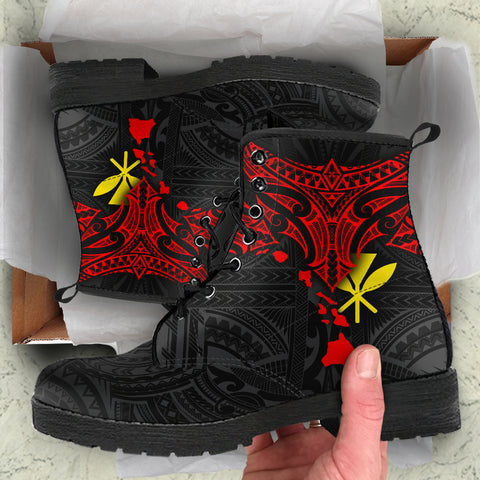 Polynesian Hawaii Leather Boots - Polynesian Whale Tail