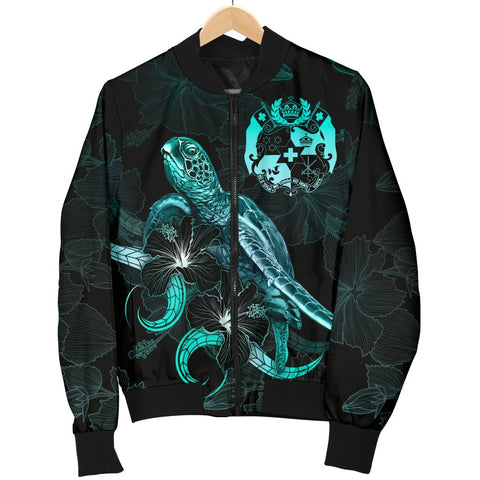Image of Tonga Polynesian Women's Bomber Jacket - Turtle With Blooming Hibiscus Turquoise