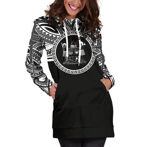Fiji Women Hoodie Dress - Fiji Coat Of Arms Polynesian Black Color Bn10