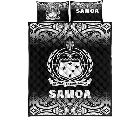 Samoa Quilt Bed Set - Fog Black Version