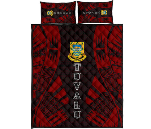Tuvalu Quilt Bed Set - Red Tattoo Style