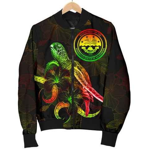 Fedarated States of Micronesia Polynesian Men's Bomber Jacket - Turtle With Blooming Hibiscus Reggae