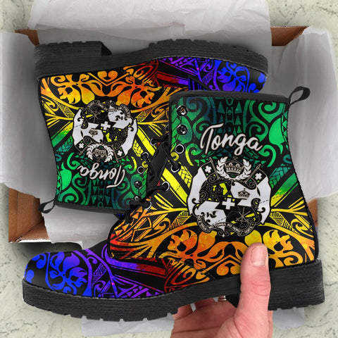 Tonga Custom Personalised Leather Boots - Rainbow Polynesian Pattern