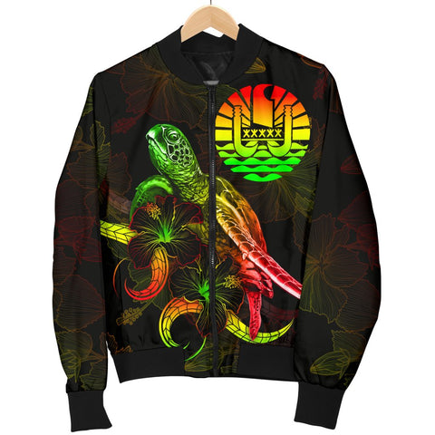 Image of Tahiti Polynesian Men's Bomber Jacket - Turtle With Blooming Hibiscus Reggae