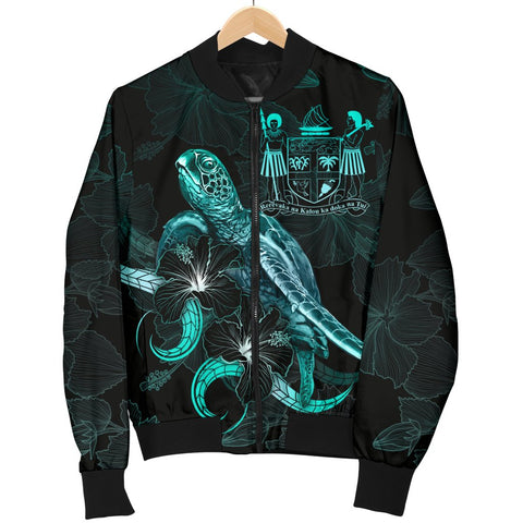 Fiji Polynesian Women's Bomber Jacket - Turtle With Blooming Hibiscus Turquoise