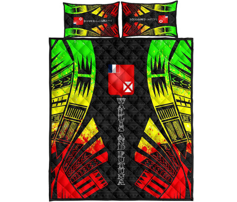 Wallis and Futuna Quilt Bed Set - Reggae Tattoo Style