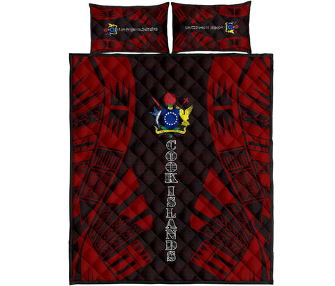 Cook Islands Polynesian Quilt Bed Set - Red Tattoo Style