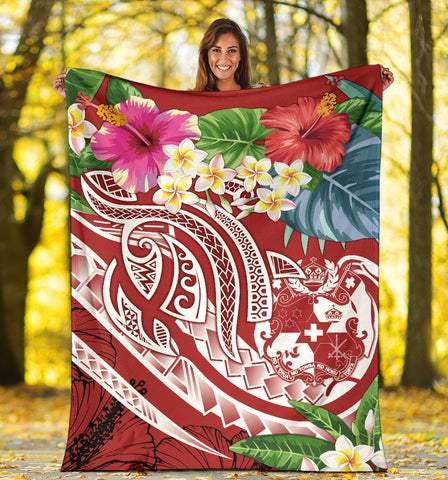 Image of Tonga Polynesian Premium Blanket - Summer Plumeria (Red)
