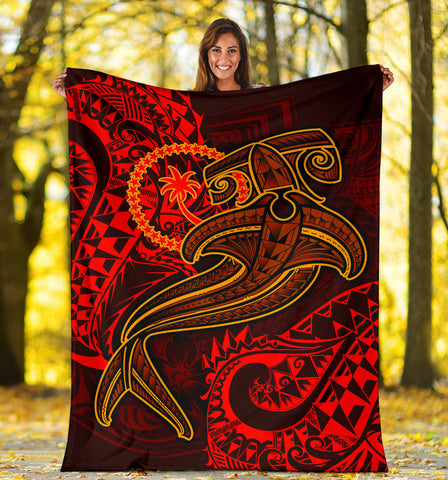 Chuuk Premium Blanket - Red Shark Polynesian Tattoo