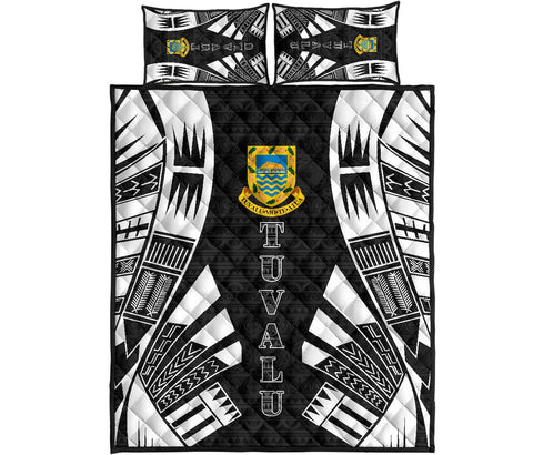 Tuvalu Quilt Bed Set - Black Tattoo Style