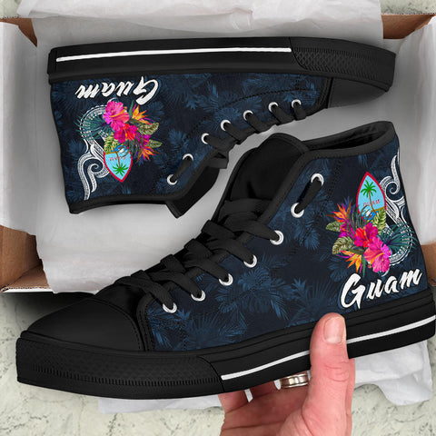 Image of Guam Polynesian High Top Shoe - Tropical Flower - BN12