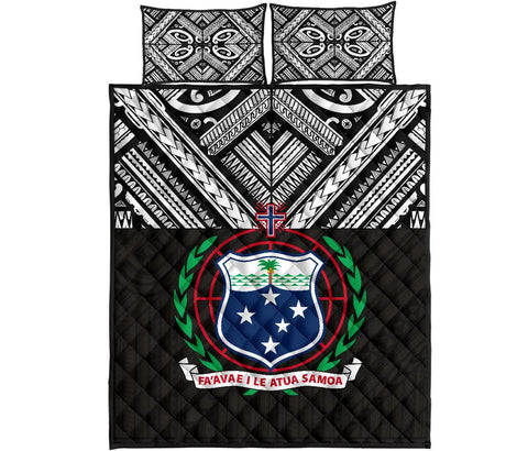 Image of Samoa Quilt Bed Set -Polynesian Black Version