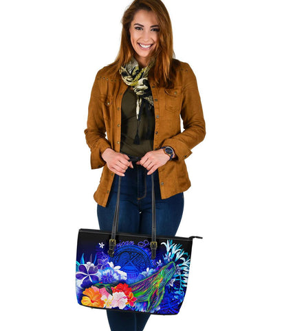 American Samoa Polynesian Leather Tote Bag - Humpback Whale with Tropical Flowers (Blue)