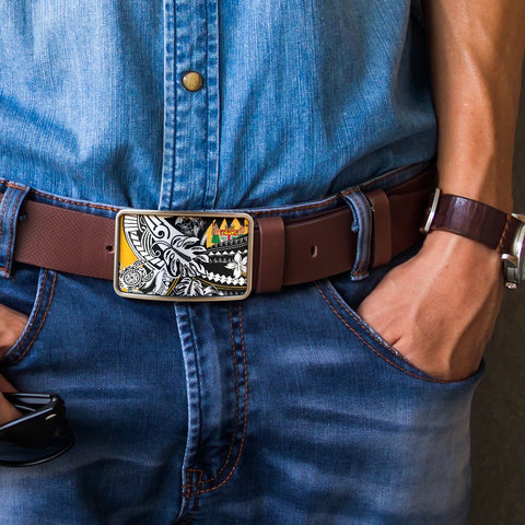 Fiji Belt Buckle - Tribal Jungle Pattern - BN20