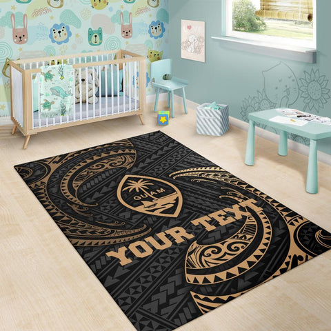 Image of Guam Polynesian Custom Personalised Area Rug - Gold Tribal Wave - BN12