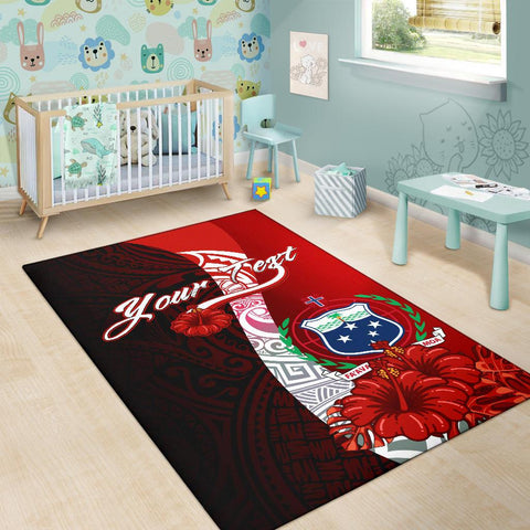 Samoa Polynesian Custom Personalised Area Rug - Coat Of Arm With Hibiscus - BN12
