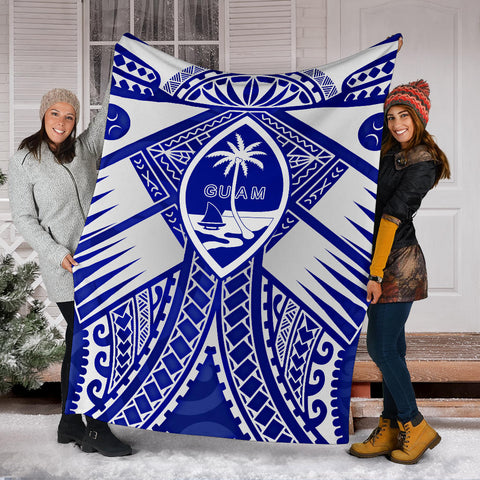 Image of Guam Polynesian Premium Blanket - Guam White Seal with Polynesian Tattoo Ver 02 - BN18