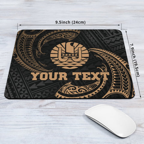 Image of Tahiti Polynesian Custom Personalised Mouse Pad - Gold Tribal Wave - BN12