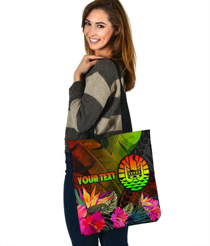 Image of Tahiti Polynesian Personalised Tote Bags -  Hibiscus and Banana Leaves