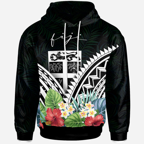 Fiji Hoodie - Fiji Coat of Arms & Polynesian Tropical Flowers White - BN22
