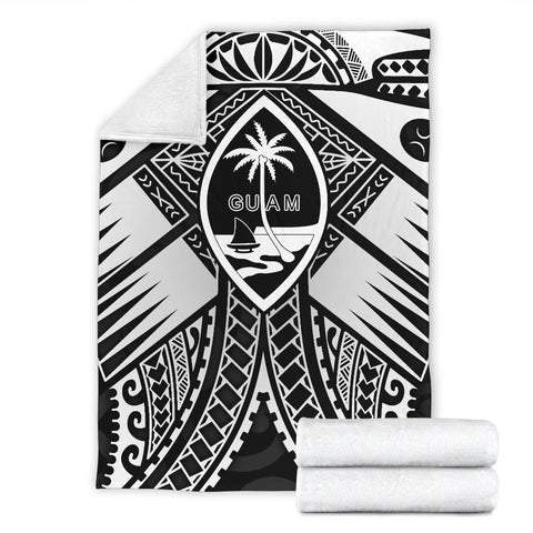 Image of Guam Polynesian Premium Blanket - Guam White Seal with Polynesian Tattoo Ver 01 - BN18