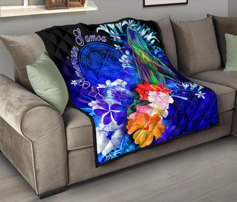 American Samoa Polynesian Premium Quilt - Humpback Whale with Tropical Flowers (Blue)