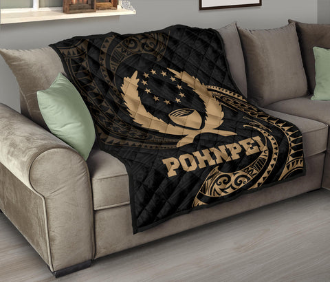 Image of Pohnpei Micronesia Premium Quilt - Gold Tribal Wave