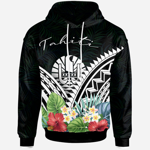 Tahiti Hoodie - Tahiti Coat of Arms & Polynesian Tropical Flowers White - BN22