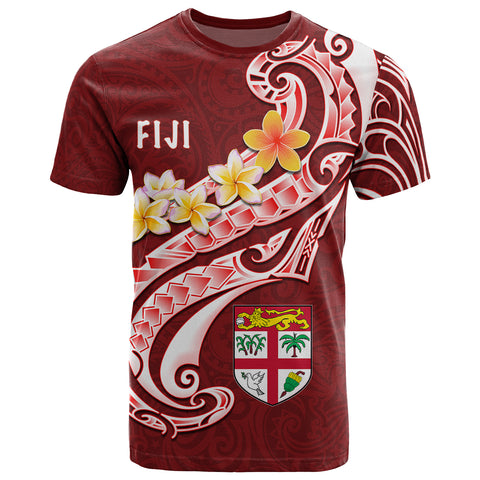 Fiji T - Shirt - Fiji Seal  Polynesian Patterns Plumeria (Red )