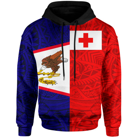 Image of American Samoa And Tonga Hoodie Polynesian Pattern - BN39