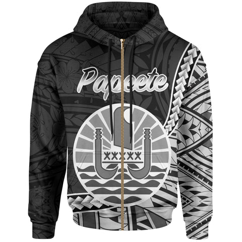 French Polynesia Zip Hoodie - Papeete Seal Of French Polynesia Polynesian Patterns