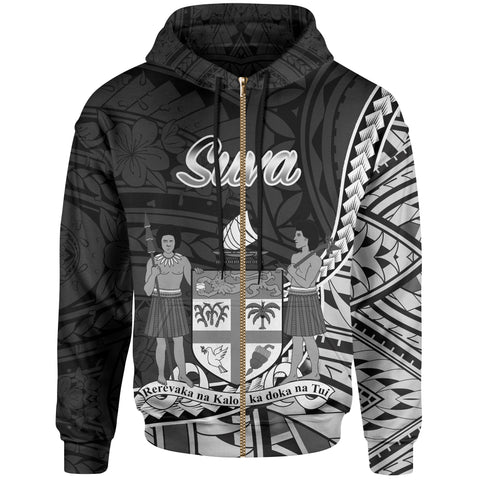 Fiji Zip Hoodie - Suva Seal Of Fiji Polynesian Patterns