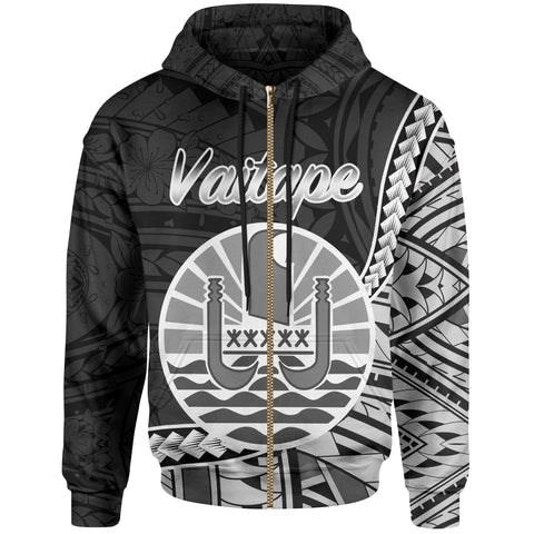 French Polynesia Zip Hoodie - Vaitape Seal Of French Polynesia Polynesian Patterns