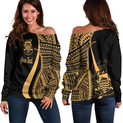 Tuvalu Custom Personalised Women's Off Shoulder Sweater - Gold Polynesian Tentacle Tribal Pattern