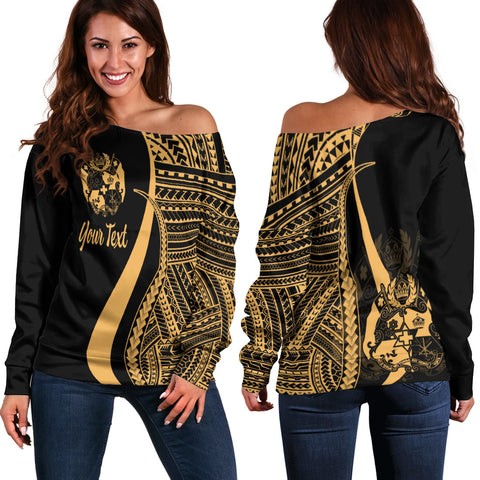 Tonga Custom Personalised Women's Off Shoulder Sweater - Gold Polynesian Tentacle Tribal Pattern