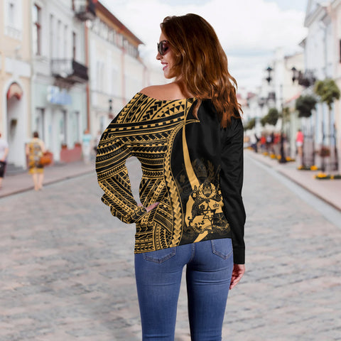 Image of Tonga Custom Personalised Women's Off Shoulder Sweater - Gold Polynesian Tentacle Tribal Pattern - BN11