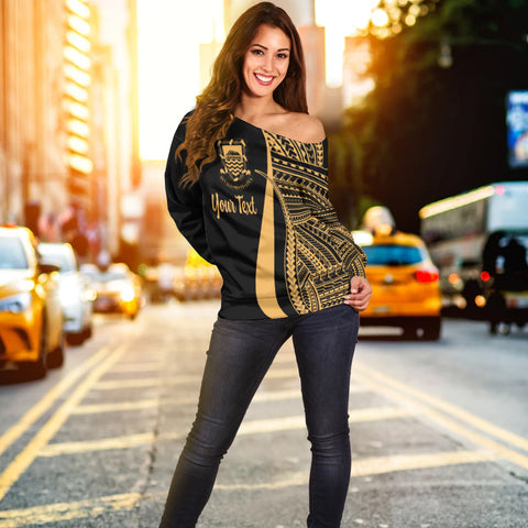 Tuvalu Custom Personalised Women's Off Shoulder Sweater - Gold Polynesian Tentacle Tribal Pattern - BN11
