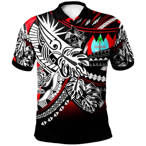 Guam Polo Shirt - Tribal Jungle Red Pattern - BN20